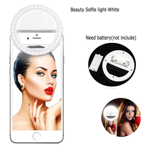 mobile selfie light white