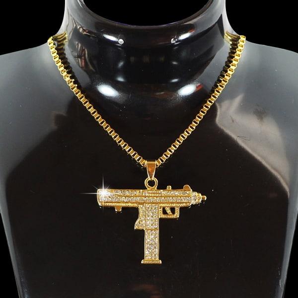 gun necklace light yellow gold