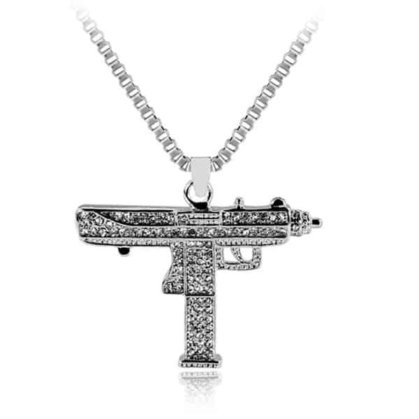 gun necklace gold color