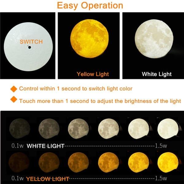 3D moon lamp color